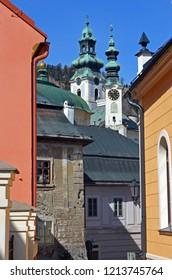 Little historic minig town Banska Stiavnica in Slovakia