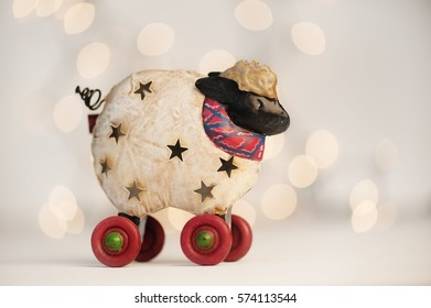 Little holiday lamb toy ornament with lights
