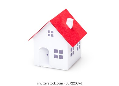 Little house made of paper isolated on white background