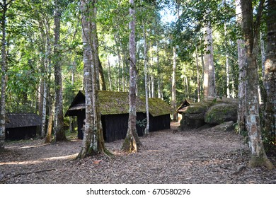 Little hut in the forest at Phu Hin Long Kla  national park of Thailand.