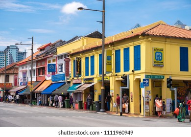 Little India, Singapore : May 27,2018 : View of colorful buildings in Little India district in Singapore.  Little India is Singaporean neighbourhood east of the Rochor river.