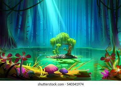 A Little Island in the Middle of the Lake inside the Deep Forest. Video Game's Digital CG Artwork, Concept Illustration, Realistic Cartoon Style Background
