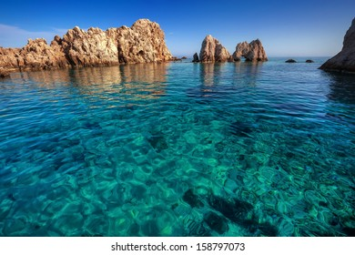 A little islet with fantastic transparent waters, Antiparos island, Cyclades, Greece