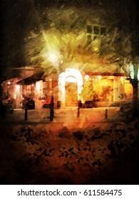 Little Italien Restaurant at the corner digital painting