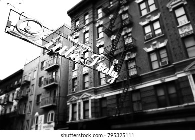 Little Italy sign in Manhattan area in New York.  Picture in black and white.