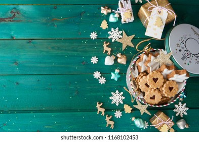 Little jar of cookies and christmas decorrations
