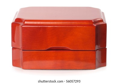 Little jewelry wooden box isolated over white background