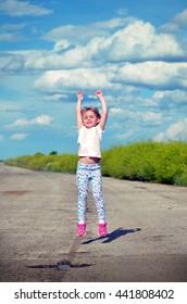 Little jumping girl