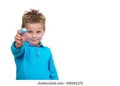 little kid about to draw something with chalk