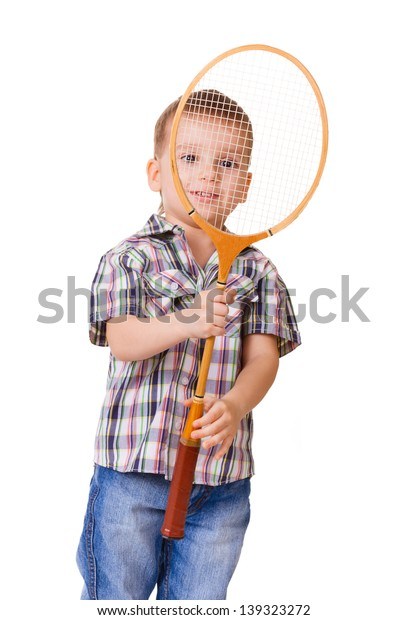 Little kid with badminton racket isolated on white background