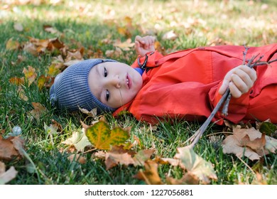 Little kid boy lying in autumn leaves in red coat and grey hat. Happy child having fun in autumn park on warm day. Holding dry sticks in his hand.