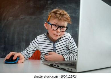 Little kid boy programming with laptop computer. Close up of the portrait of pupil in blue light blocking glasses. Child codding. Computer vision syndrome. Online education. IT lessons.
