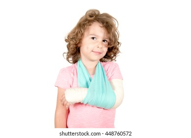 Little kid with the broken hand isolated on white background