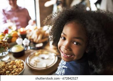 Little Kid Children Smiling Thanksgiving Celebration Concept
