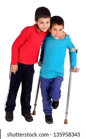 little kid with crutches