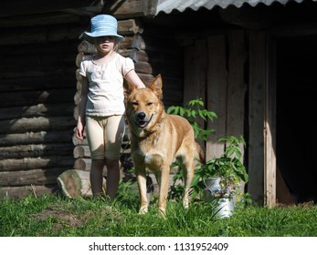 Little kid with a huge red dog. Portrait of a child and his pet