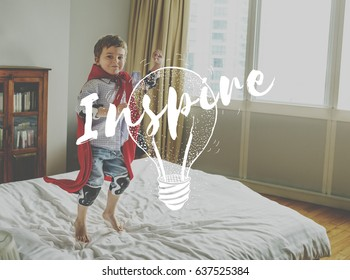 Little Kid with Inspiration Imagination Word Light Bulb Graphic