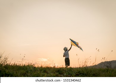 Little kid with kite on meadow