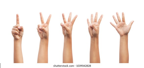 Little kid showing one to five fingers count signs isolated on white background with Clipping path included. Communication gestures concept