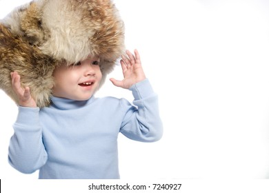 Little kid in winter hat