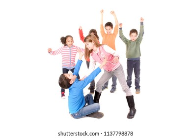 little kids bullying another kid isolated in white