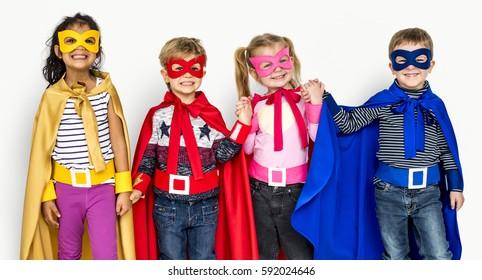 Little Kids Dressing Superhero Hold Hands