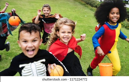 Little kids at a Halloween party