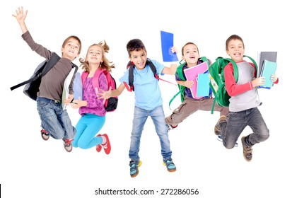 little kids jumping at school isolated in white