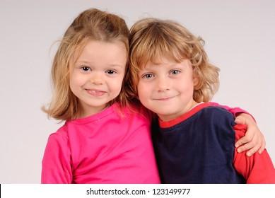 little kids posing