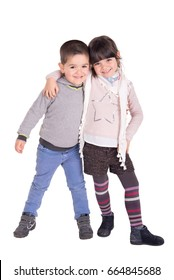 little kids posing isolated in white