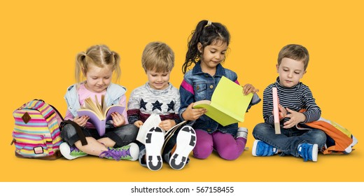 Little Kids Reading Book Cheerful