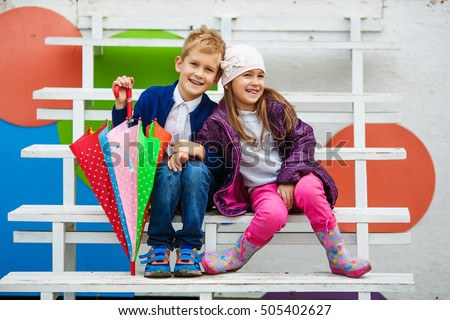2938aacdc609 Little Kids Wearing Stylish Clothes On Stock Photo (Edit Now ...