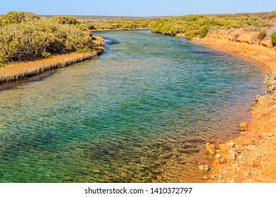 Little Lagoon is  beautiful blue inlet ideal for swimming and fishing - Denham, WA, Australia