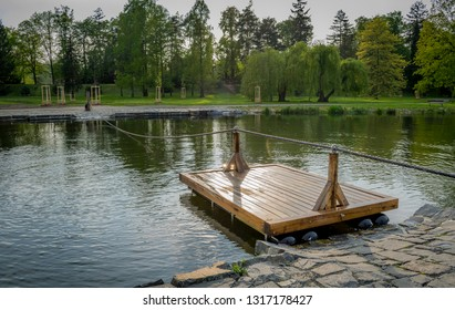 Little lake with transpor boat