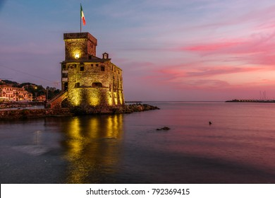 Little medieval castle on the sea, in the ligurian village of Rapallo