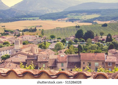 Little Medieval Village in Provence, France with View of the Surrounding Landscape