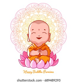 Little meditating Buddha on the lotus. Cartoon character. Cartoon illustration on a white background.