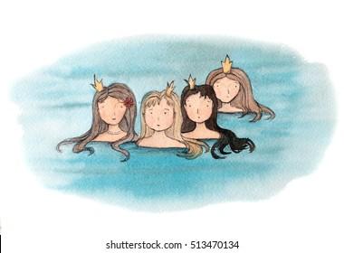 Little Mermaids Watercolor Illustration