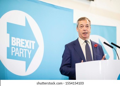 Little Mill, Monmouthshire, Wales, UK, November 8th 2019. Party leader Nigel Farage speaks during the Brexit Party general election tour event at Little Mill village hall near Pontypool.