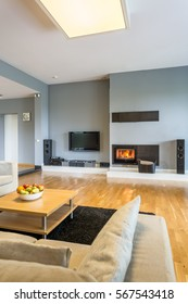 Little minimalist fireplace in spacious cosy living room