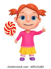 Little modest girl with a big candy on a white background. 3D rendered Illustration. Illustration for advertising.