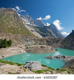 little morainic lake in Italian alps near Courmayeur, Italy