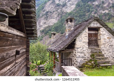 Little mountain village Foroglio in the Bavona Valley (Canton of Ticino, Switzerland) with typical historic stone houses (Rustico).