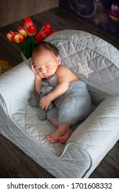 Little newborn baby boy, sleeping in little cozy baby armchair with little knitted toy, comfortably asleep