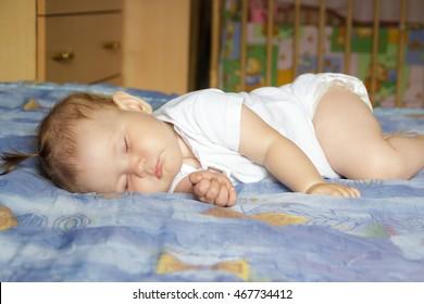 Little newborn baby girl sleeping