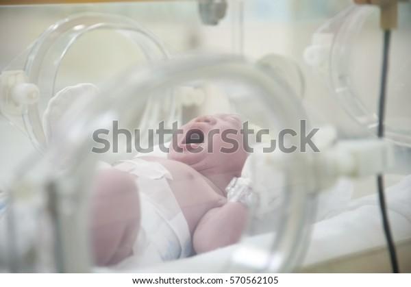 Petit bébé à naître dans un incubateur. Bébé adorable en chapeaux jaunes enveloppé d'un tissu bleu dans la salle de livraison.
