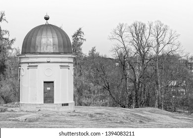 Little old observatory house from 1800s, black and white