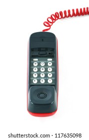 Little and old red and black phone on white background