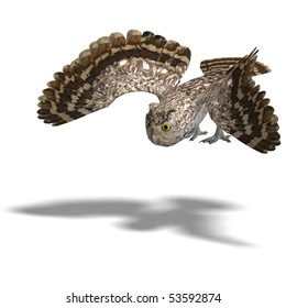 Little Owl Bird. 3D rendering with clipping path and shadow over white