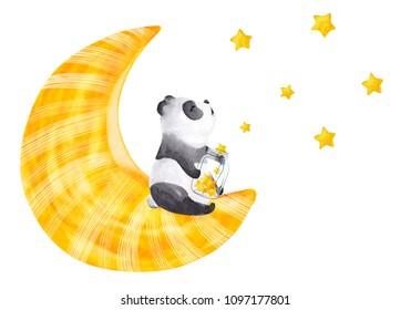 Little panda sitting on the moon. Cute watercolor illustration